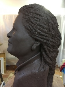 Clay model of Toni Morrison, life sized and ready for casting